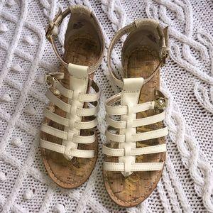 Sam Edelman Donna Cream Snakeskin Sandals Sz 6.5